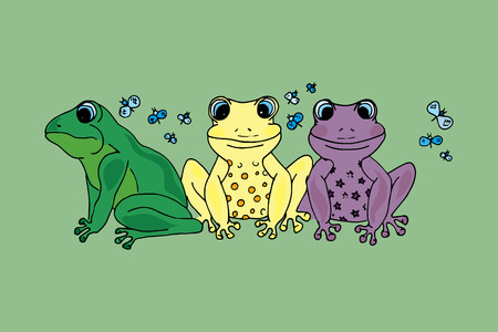blue eyed: Illustration of colorful frog with butterflies