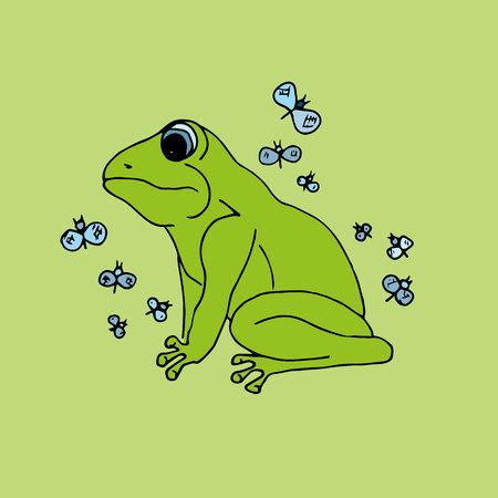blue frog: Illustration green frog with butterflies, background Illustration
