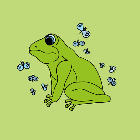 grenouille: Illustration grenouille verte avec des papillons, fond Illustration