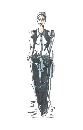 clothing model: Hand drawn illustration of a girl in black and white clothing. Model. Autotraced.