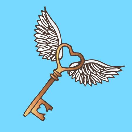 golden key: Illustration of the key with wings. Flying Golden Key. Vintage.