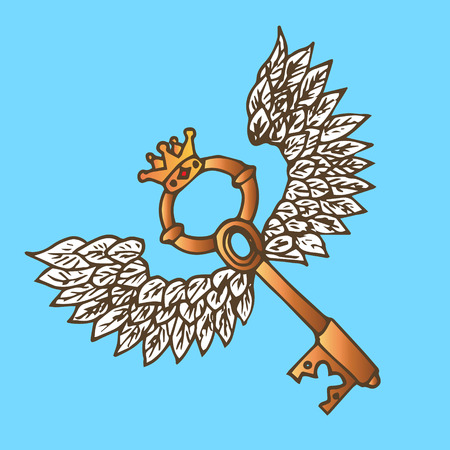 crown wings: Illustration of the key with wings. Golden key with flying angel wings and crown. Vintage.