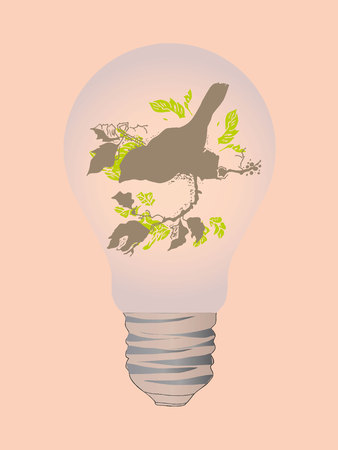 small lamp: Illustration of the bird in light bulb