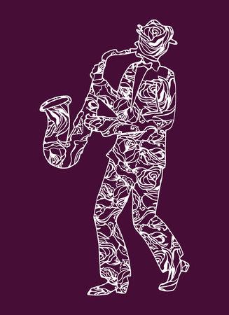 spring coat: Illustration musician. Man performing music. Saxophone.