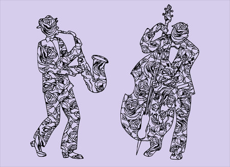 perform: Illustration of musicians. Men who perform music. Saxophone. Timpani. Illustration