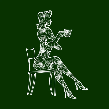 skinny: Illustration girl drinks coffee from a cup