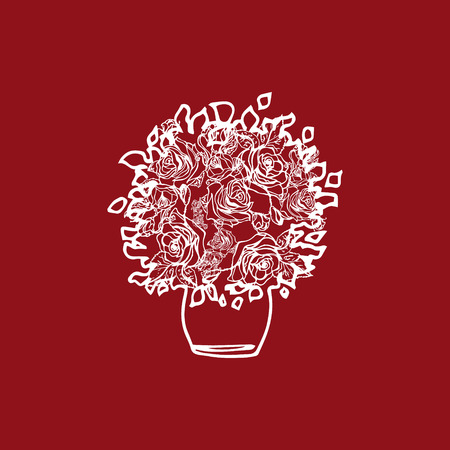 rose bush: Illustration rose bush. Flowerpot. Illustration