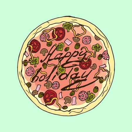 appetizing: Illustration. Appetizing pizza. Happy holiday. Illustration