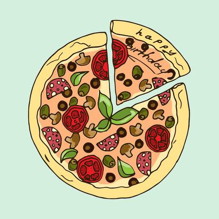 appetizing: Illustration. Appetizing pizza. Happy Birthday. Illustration
