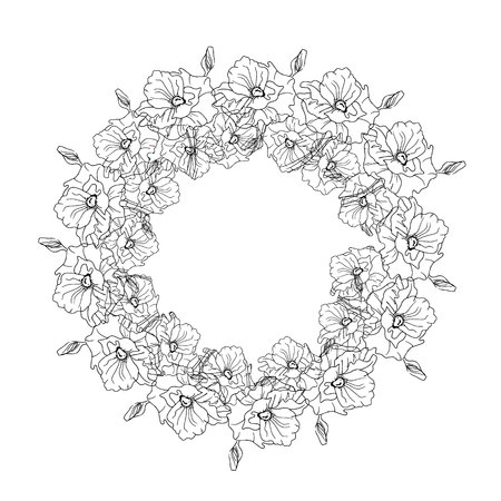 black wreath: Illustration with a wreath of flowers, black and white Illustration