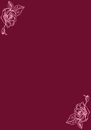 burgundy background: Illustration. Roses on a burgundy background. Card.