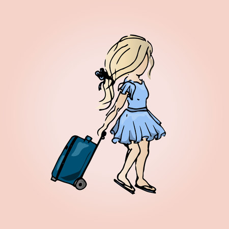up skirt: Illustration of a cute girl with a suitcase. Student girl on vacation. Travels.
