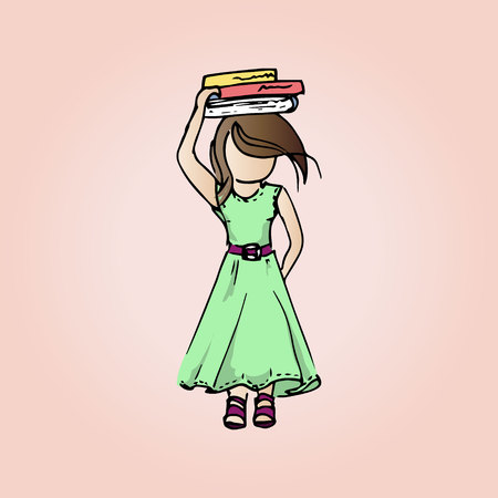 modest: Illustration pretty modest girl with books. Student girl on vacation.
