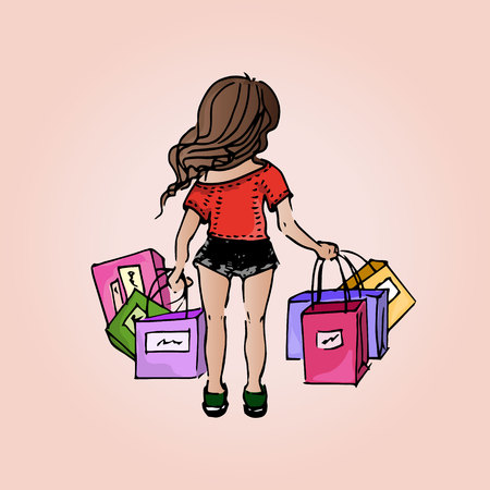 short break: Illustration beautiful girl. Shopping. Purchases. Girl-student on vacation.