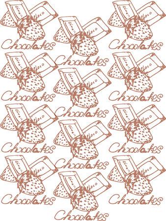 te negro: Ilustraci�n. Chocolates con fresas. Para ti. Blanco y negro. Patr�n.