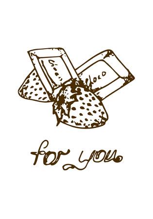 te negro: Ilustración. Chocolates con fresas. Para ti. Blanco y negro. Vectores