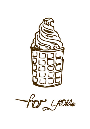 pistachio: Illustration. The pistachio ice cream in a waffle cup. For you. Black and white.