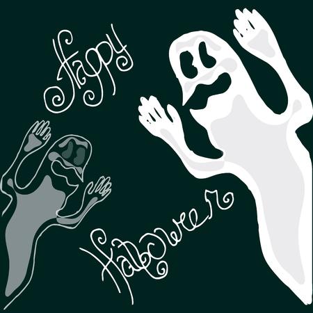 fright: Illustration of Halloween. Figure ghosts. Happy Holidays Illustration