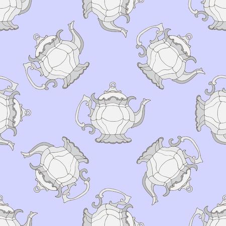 kettles: hervidores de agua ilustración. Patrón sin fisuras con las teteras.