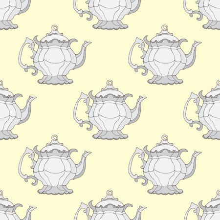 kettles: Illustration kettles. Seamless pattern with teapots.