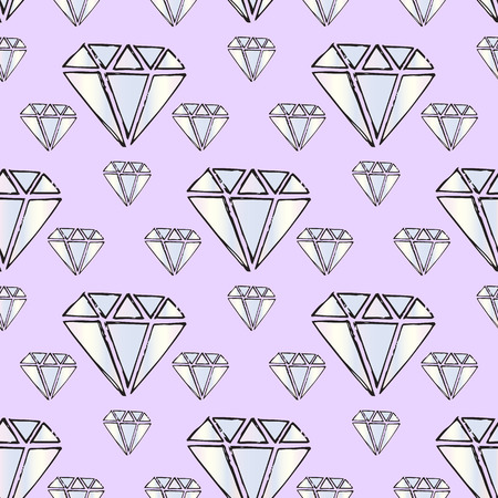 karat: Illustration gems. Diamonds and diamonds on a purple background. Seamless pattern. Illustration