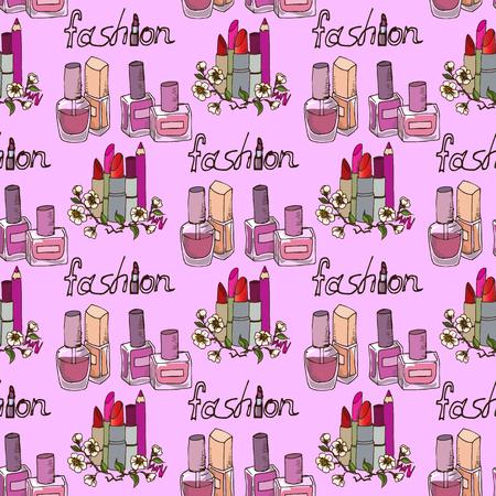 legless: Illustration of cosmetics. Nail polishes fashion. Seamless pattern. Illustration