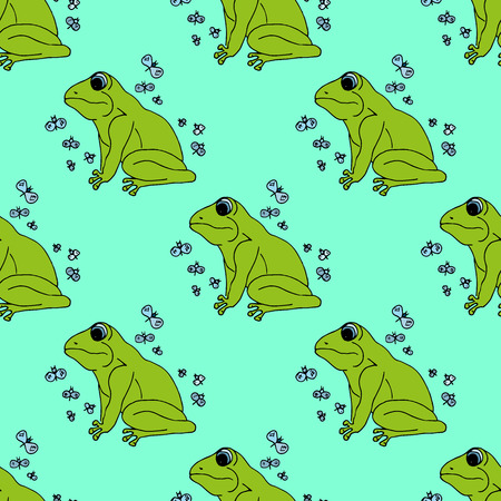 blue eyed: Illustration green frog with butterflies, background. Seamless pattern. Illustration