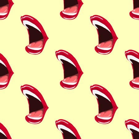 開口のイラスト。唇に赤い口紅を塗った。シームレス パターン。  イラスト・ベクター素材