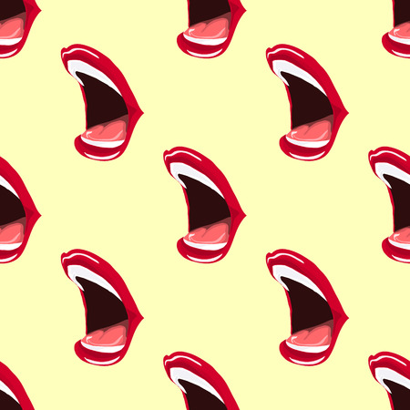 girl mouth: Illustration of open mouth. Painted lips red lipstick. Seamless pattern. Illustration