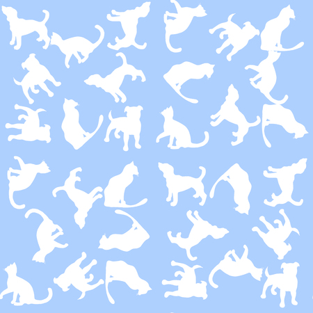 short haired: Illustration Background with dogs and cats. Seamless pattern. Illustration