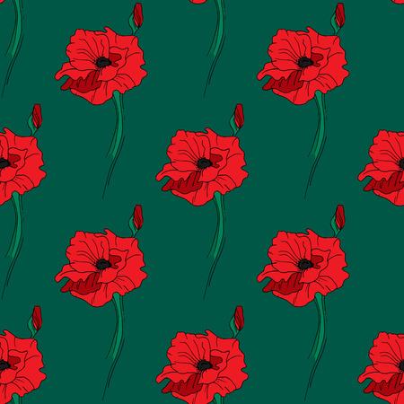 red poppy: Illustration of alone red poppy. Seamless pattern.