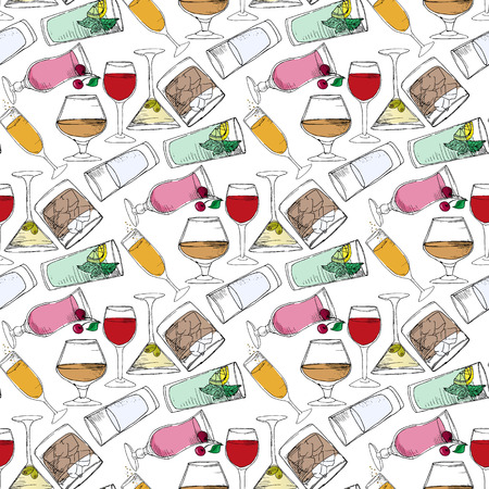 alcohol: Illustration of alcoholic and non-alcoholic beverages. Drinks at the bar. Seamless pattern.
