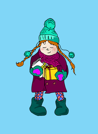 pigtails: Illustration of a girl with pigtails. Winter holidays. A child with letters and gifts.