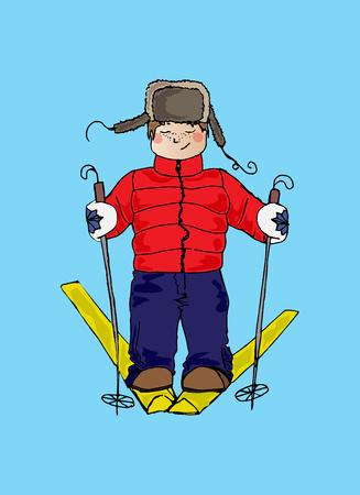 black ski pants: Illustration of a child on skis. Winter sport. The festive mood.