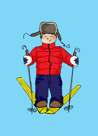 Illustration of a child on skis. Winter sport. The festive mood.