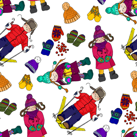 winter fun: Illustration of Kids and winter fun. The bright winter clothes. The festive mood. Seamless pattern.