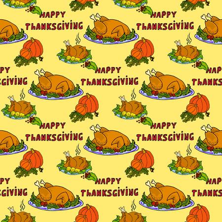 roasted turkey: Illustration roasted turkey and pumpkin. Thanksgiving Day. Seamless pattern.