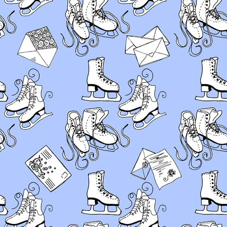 winter fun: Figure skating and letters. Winter fun. Seamless pattern.
