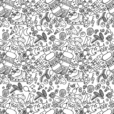 bunny cartoon: Illustration of Christmas items. The holiday and fun. Seamless pattern. Black and white.