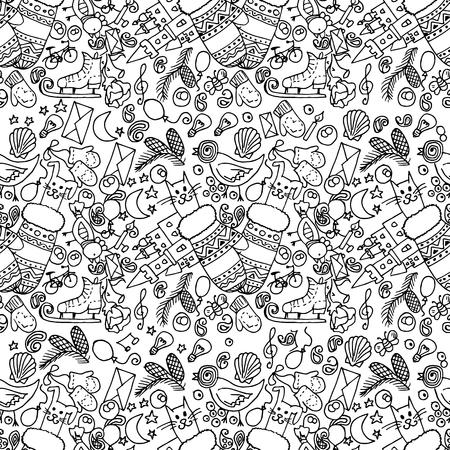 pepino caricatura: Ilustraci�n de art�culos de Navidad. La fiesta y la diversi�n. Patr�n transparente. En blanco y negro.