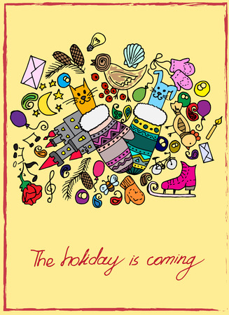 pinecone: Illustration of Christmas items. The holiday and fun. Cheerful and colorful postcard. Illustration