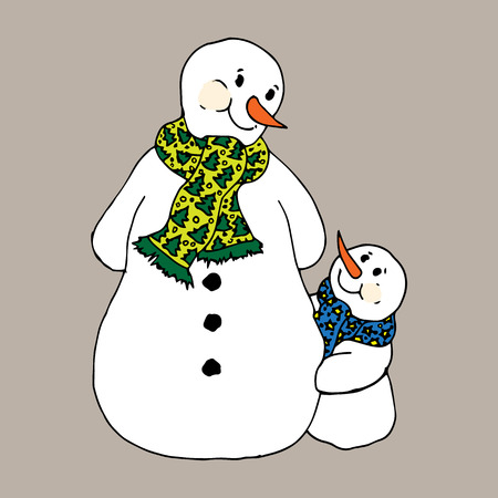 scarves: Christmas illustration. Snowmen in scarves, adults and children. Christmas card