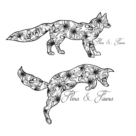wild nature: Illustration of foxes. Playing animals. Wild nature. Flora and fauna.