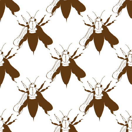 pollination: Illustration of a bee. Wild nature. A swarm of bees. Seamless pattern.