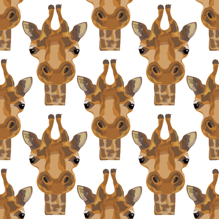 camelopardalis: Illustration of a giraffe. The head of the giraffes. Safari and wild animals. Wild unspoiled nature. Seamless pattern. Illustration