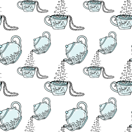 pearls and threads: Illustration teapot and cup, hand drawn. Necklace and beads. Seamless pattern.