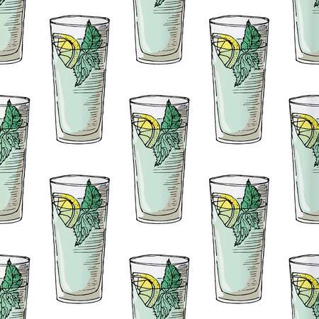 mohito: Painted illustration with drinks. A glass of mohito. Seamless pattern.