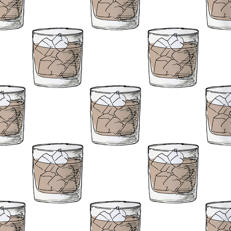 Painted illustration with drinks. A glass of whiskey. Cola with ice. Seamless pattern.