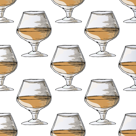 brandy: Painted illustration with drinks. A glass of brandy. Seamless pattern.