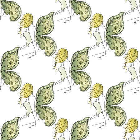 summer girl: Hand-drawn illustrations. Beautiful girl with butterfly wings. Cute virgin girls. Seamless pattern. Illustration